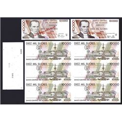 Banco Central del Ecuador, 1988-98, Quartet of 10000 Sucres Notes