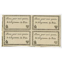 French Army in Austria, 1806-1807, Bread Coupon Block of 4.