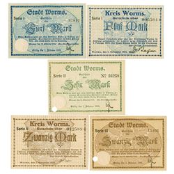 City of Worms, 1918 and 1919 Banknote Quintet.