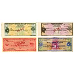 State Bank of India, ca. 1950s-1960s, Quartet of Specimen Travellers Cheques