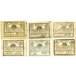 Prima Repubblica Romana, 1798, Lot of 6 Issued Assignats