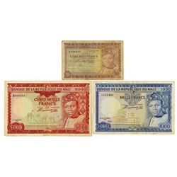 Banque De La Republique du Mali, Second 1960 (1967) Issue Banknote Group.