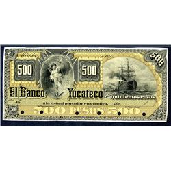 Banco Yucateco, ND (ca.1890-1903) Proof Face and Back Banknotes.