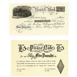 Berwick Bank, ND (ca. 181_), Proof Banknote