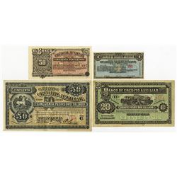 Banco De Credito Auxiliar, Montevideo 1887 Issue Banknote Assortment.