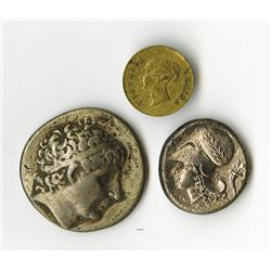 Mixed Trio of Ancient Coins & Tokens with Greek Corinthian Silver Coin