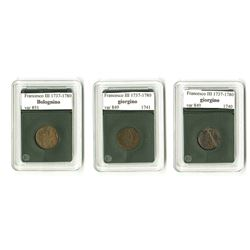 Modena: Francesco III d'Este, 1737-1780, Trio of Coins