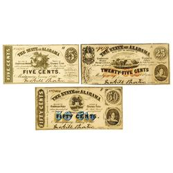 State of Alabama, 1863 Obsolete Scrip Note Trio.