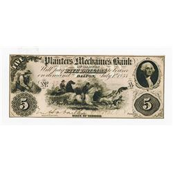 Planters and Mechanics Bank of Dalton, 1855 Issued High Grade Obsolete Banknote.