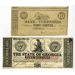 Southern State Obsolete Banknote Pair, ca.1861-1862.