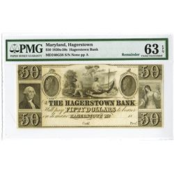 Hagerstown Bank, 1830-50's Remainder Banknote.
