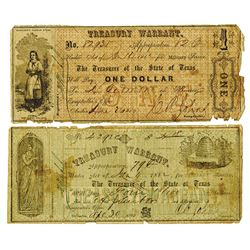Treasurer of the State of Texas, 1862 Obsolete Banknote Pair.