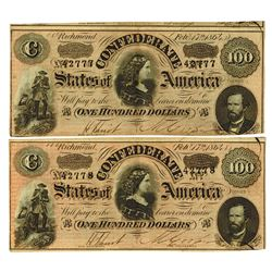 C.S.A., 1864 Lot of 2 $100 Notes T-65 Banknote Pair.