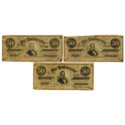 C.S.A., 1864 Lot of 3 $50 Notes T-66, All are Choice VF to XF.