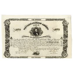 Confederate States of America, 1862 (ca.1879) $100 Contemporary Counterfeit Issued and Uncancelled B