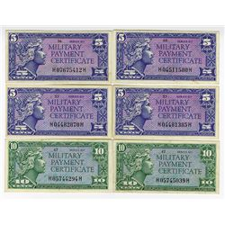 U.S. M.P.C., Lot of 6 Different Notes, all are from Series 611.