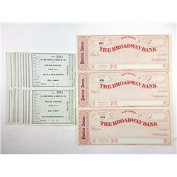 Various Issuers. Late 19th Century. Group of 3 Checks & 11 Train Tickets.