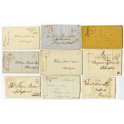 Stampless Letter Lot of 9 Different Pennsylvania Stampless Covers ca.1830-50's with Different Markin