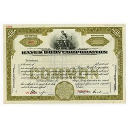 Hayes Body Corp., ND (ca.1920-30's) <100 Shares, Specimen Stock Certificate.