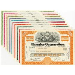 Chrysler Corp., Lot of 11 different Stock Certificate Designs.