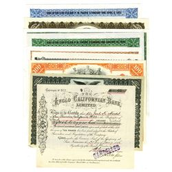 Assortment of Banking Stock Certificates, ca.1900-1960 Issued Stock Certificates, 9 Pieces