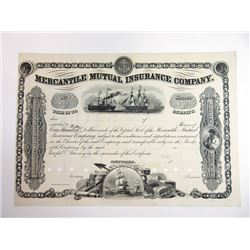 Mercantile Mutual Insurance Co., ND (ca.1860-70) Proof Stock Certificate Rarity.