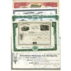 Assortment of Issued and Cancelled Stock Certificates ca.1880-1930, 7 Pieces