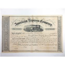 American Express Co., 1859 issued Stock Certificate Signed by William Fargo and John Butterfield.