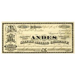 Andes Silver Mining Co., 1876 Issued stock certificate.