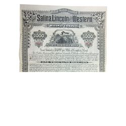 Salina, Lincoln and Western Railway Co., 1885 Specimen Coupon Bond.