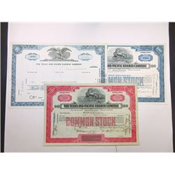 Texas and Pacific Railway Co., 1930-1968 Issued and Cancelled Trio of Stock Certificates