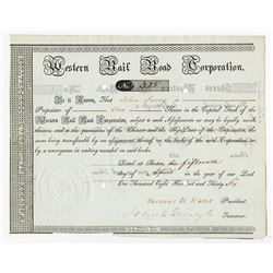 Western Rail Road Corp., 1836 Issued Stock Certificate.