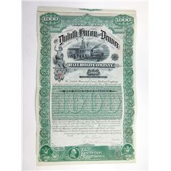 Duluth, Huron and Denver Railroad Co. 1887 Coupon Bond.