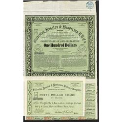 Galveston, Houston and Henderson R.R. Co., 1857 Issued Stock and Bond Certificate.