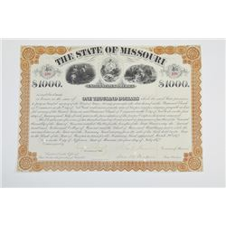 State of Missouri, 1872 Cancelled Bond
