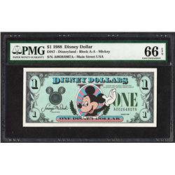 1988 $1 Disney Dollars Note PMG Gem Uncirculated 66EPQ