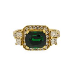 14KT Yellow Gold 3.84 ctw Tsavorite and Diamond Ring