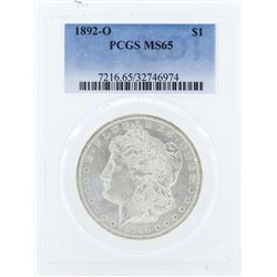 1892-O $1 Morgan Silver Dollar Coin PCGS MS65