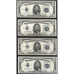 Lot of (4) 1934D $5 Silver Certificate Notes
