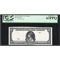 1929 American Bank Note Company Test Note 10 Units PCGS Choice New 63PPQ