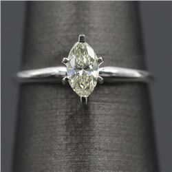 14KT White Gold 0.52 ctw Natural Marquise Diamond Solitaire Engagement Wedding R