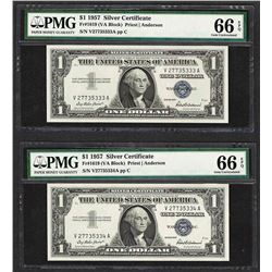 Lot of (2) Consecutive 1957 $1 Silver Certificate Notes PMG Gem Uncirculated 66E