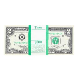 Pack of (100) Consecutive 1976 $2 Federal Reserve Notes Uncirculated St. Louis