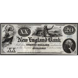 1857 $20 The New England Bank Obsolete Note