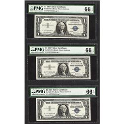 Lot of (3) Consecutive 1957 $1 Silver Certificate Notes PMG Gem Uncirculated 66E