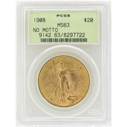 1908 No Motto $20 St. Gaudens Double Eagle Gold Coin PCGS MS63