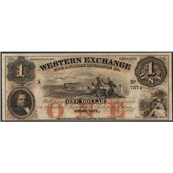 1857 $1 The Western Exchange Obsolete Note