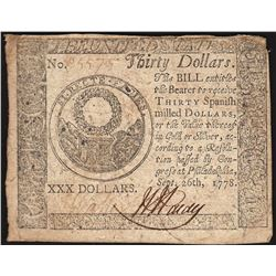 September 26, 1778 $30 Continental Currency Note