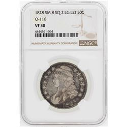 1828 Small 8 Square 2 Large Letter Capper Bust Half Dollar Coin NGC VF30