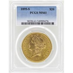 1895-S $20 Liberty Head Double Eagle Gold Coin PCGS MS61